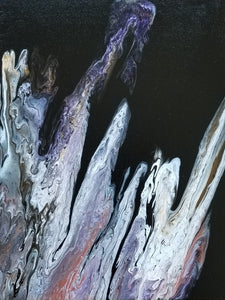 "Purple Mountain - 11"" x 14"" Abstract Fluid Acrylic Painting"