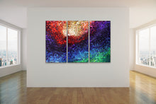 "Load image into Gallery viewer, Magnificent Light Triptych - 48""x 76"" Original Fluid Acrylic Painting"