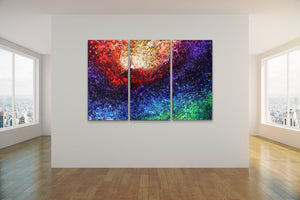 "Magnificent Light Triptych - 48""x 76"" Original Fluid Acrylic Painting"