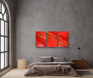 Passion Triptych - 3'x6' Original Fluid Acrylic Painting