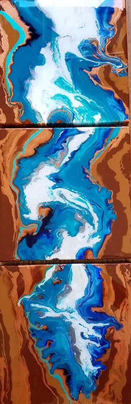 "River of Life Triptych - 12""x 38"" Original Fluid Acrylic Painting"