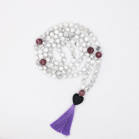 Calming Zen Mala Diffuser Necklace Made With Howlite, Lepidolite, and Lava Stones