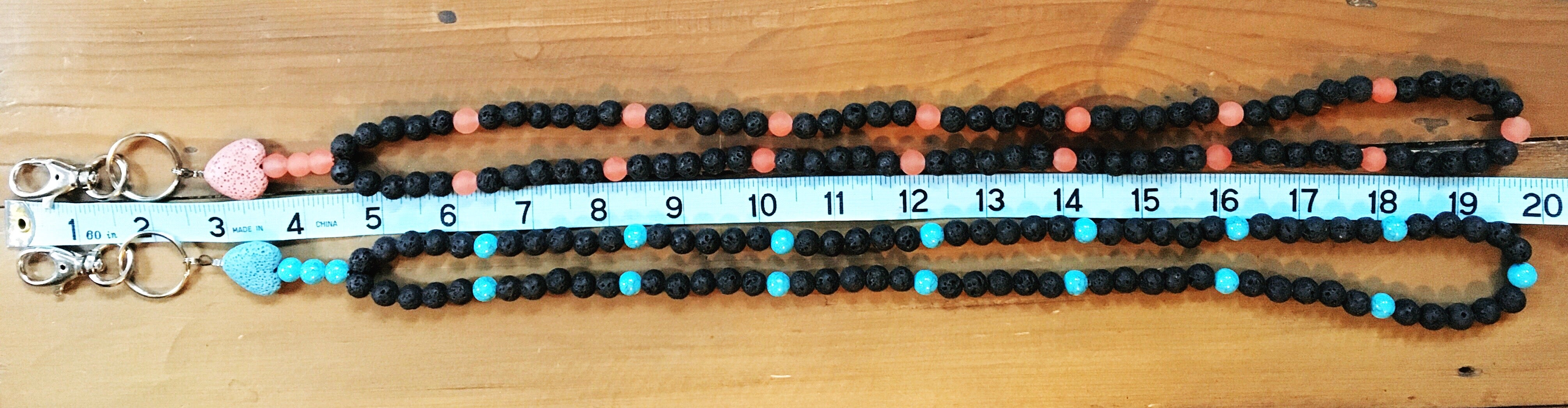 Paper & Pretties Custom Gemstone & Lava Stone Diffuser Lanyards