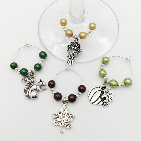 Autumn Harvest Wine Glass Charm Set