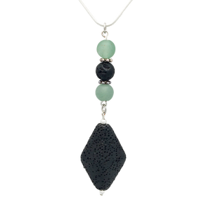 Black Diamond Lava Stone Diffuser Necklace