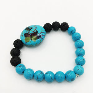 Turquoise Butterfly & Lava Stone Diffuser Bracelet