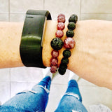 Person Wearing Anti-Anxiety Lepidolite & Lava Stone Bracelets