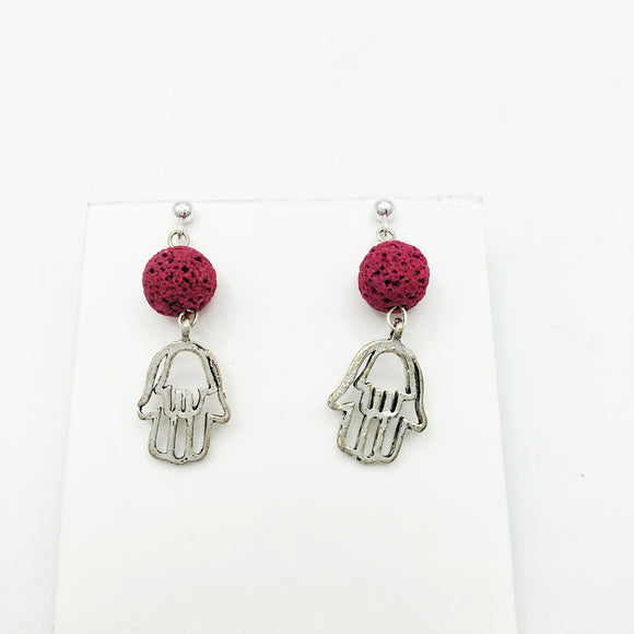 Caring Hand & Lava Stone Diffuser Earrings