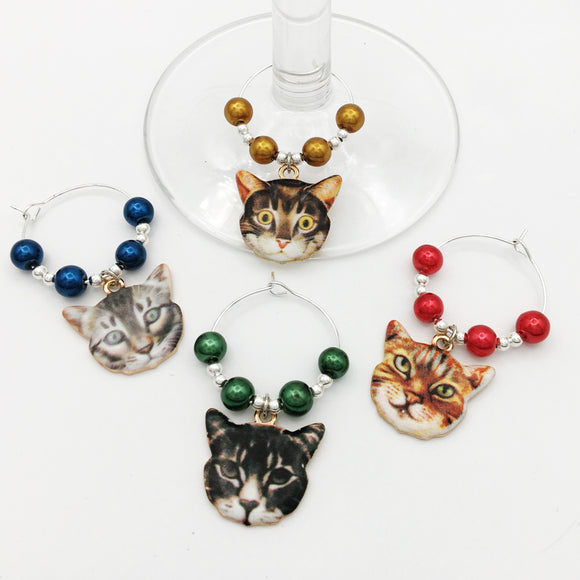 Cat Faces Wine Glass Charm Set