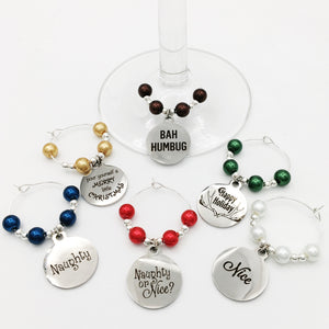 Christmas Wine Glass Charm Set