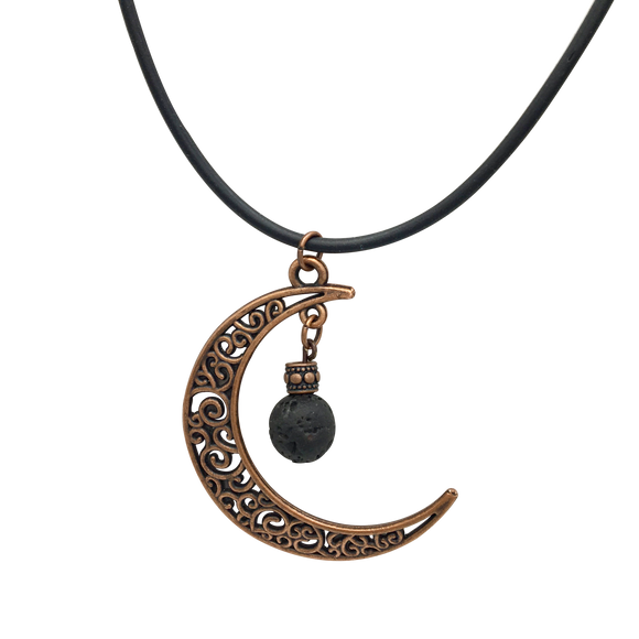 Antique Copper-Toned Crescent Moon Diffuser Necklace