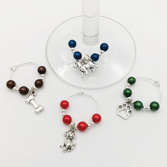 Dog Lover Wine Glass Charm Set
