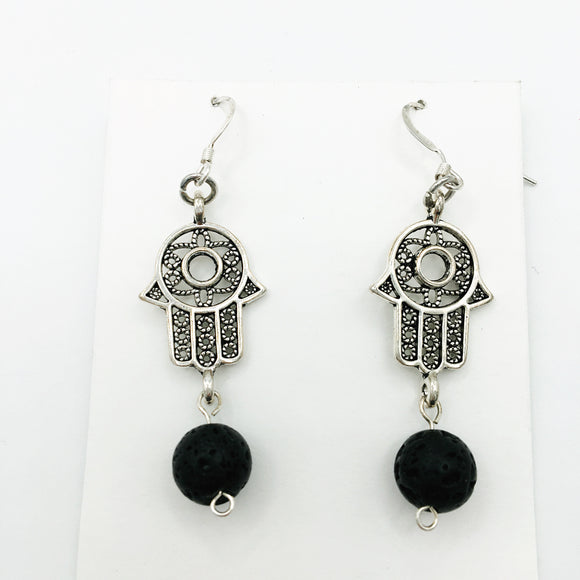 Hamsa Hand & Lava Stone Open Palm Diffuser Earrings