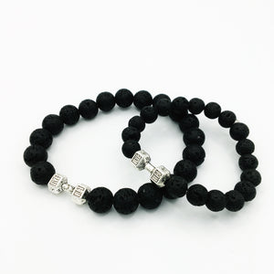 Dumbbell & Lava Stone Matching Diffuser Bracelets
