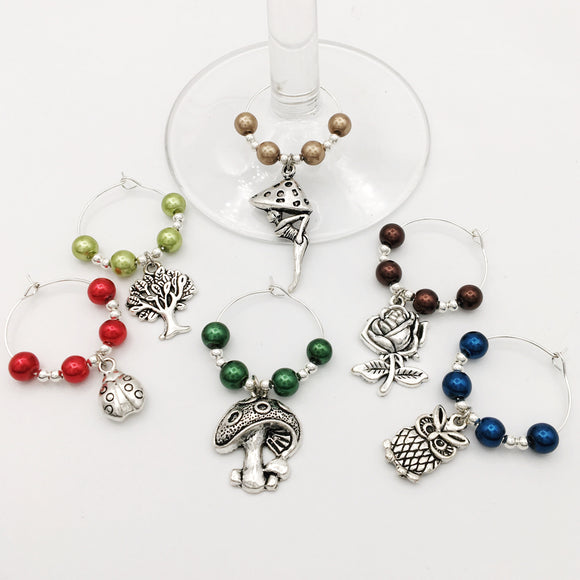 Enchanted Forest Wine Glass Charm Set