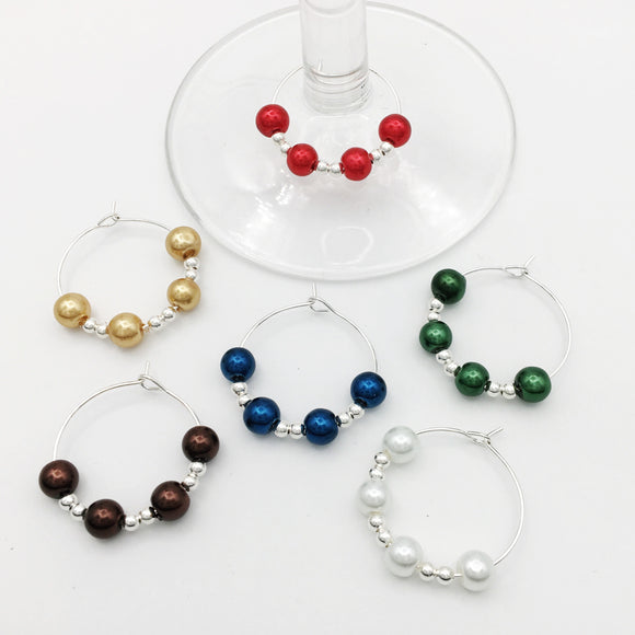 Vibrant Wine Glass Charm Set of Six
