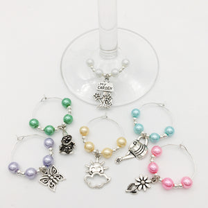 Gardener's Wine Glass Charm Set