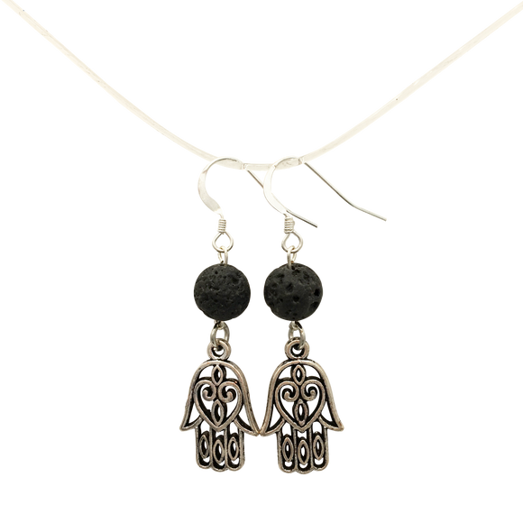 Hamsa Hand & Lava Stones Diffuser Earrings