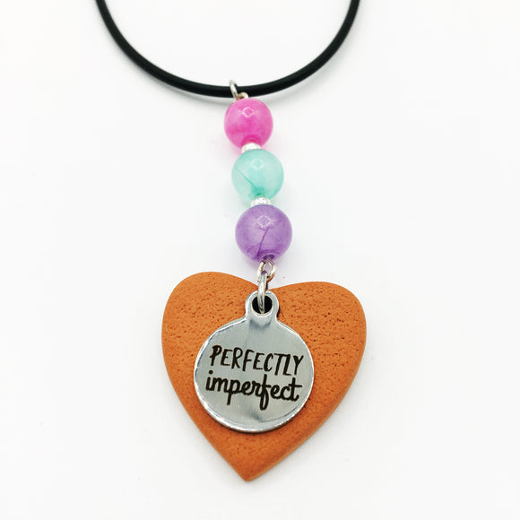Terracotta Heart & Charm Leather Diffuser Necklace