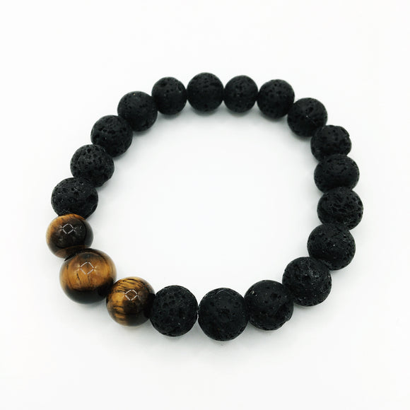 Men's Tiger's Eye & Lava Stone Diffuser Bracelet