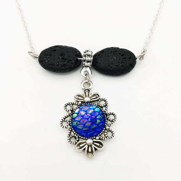 Mermaid Scale & Lava Stone Diffuser Necklace