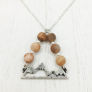 Mountains & Moonstone/Sunstone Necklace