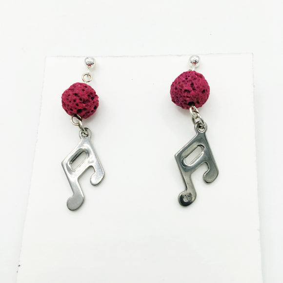 Music Note & Coloured Lava Stone Diffuser Earrings