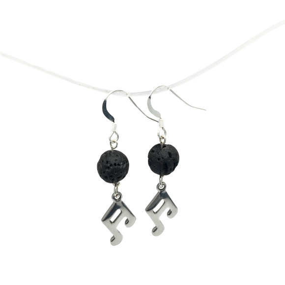 Music Note & Lava Stone Diffuser Earrings