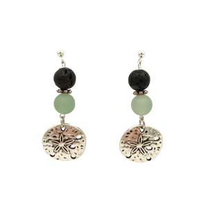 Sand Dollar & Lava Stone Diffuser Earrings