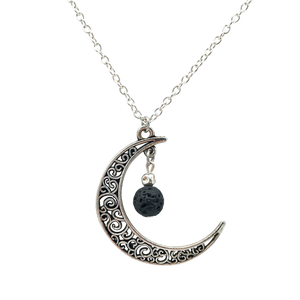 Antique Silver-Toned Crescent Moon Diffuser Necklace