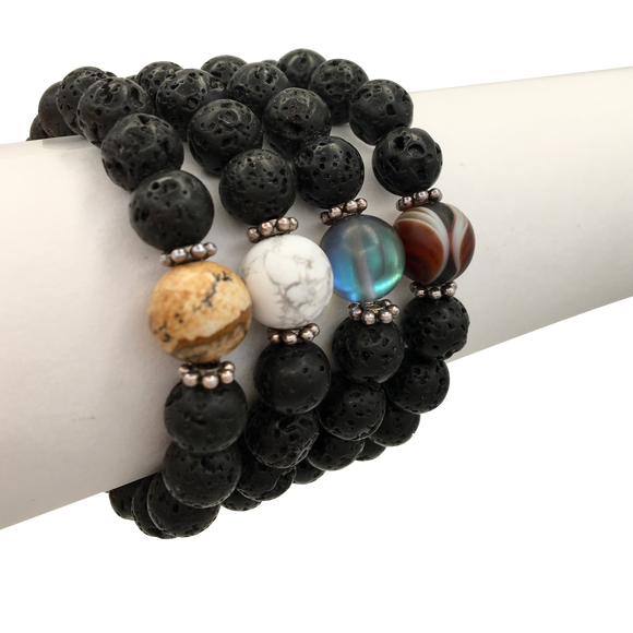Single Gemstone & Lava Stone Diffuser Bracelet