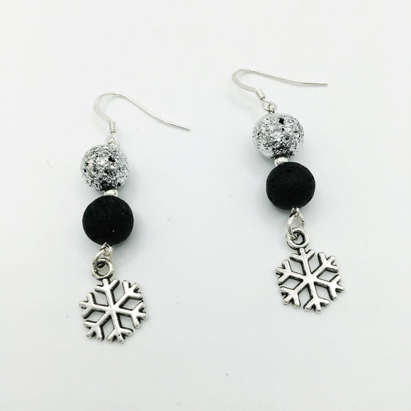 Snowflake & Lava Stone Diffuser Earrings
