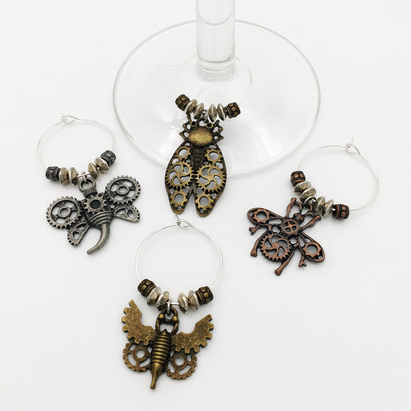 Steampunk Bugs Wine Glass Charm Set