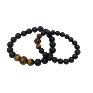 Tiger's Eye & Onyx Matching Diffuser Bracelets