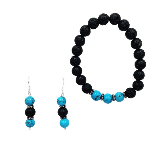 Turquoise & Lava Stone Diffuser Jewelry Set