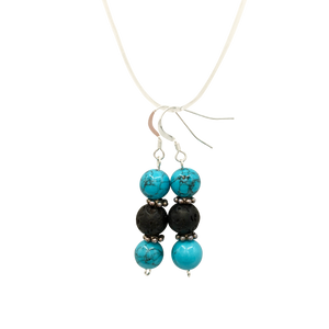Turquoise & Lava Stone Diffuser Earrings