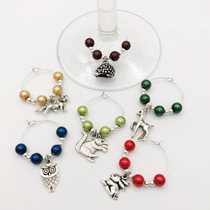 Woodland Wine Glass Charm Set
