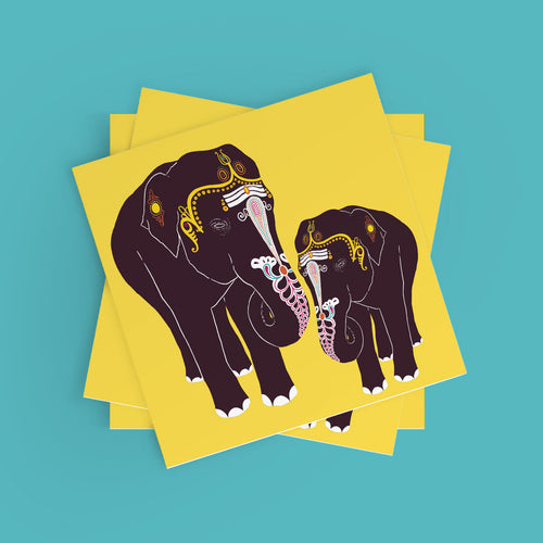 Temple Elephants Poster