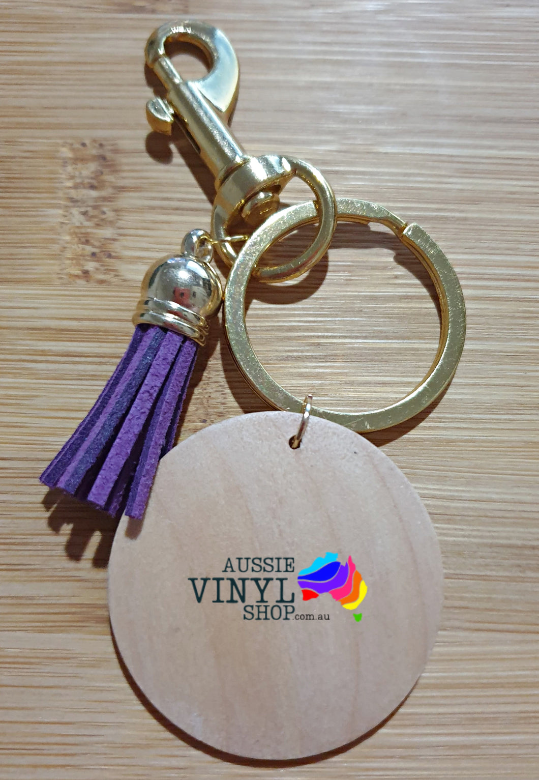 PRETTY TASSEL KEYRINGS WITH ROUND WOODEN DISC BLANK