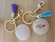 Load image into Gallery viewer, PRETTY TASSEL KEYRINGS WITH ROUND WOODEN DISC BLANK