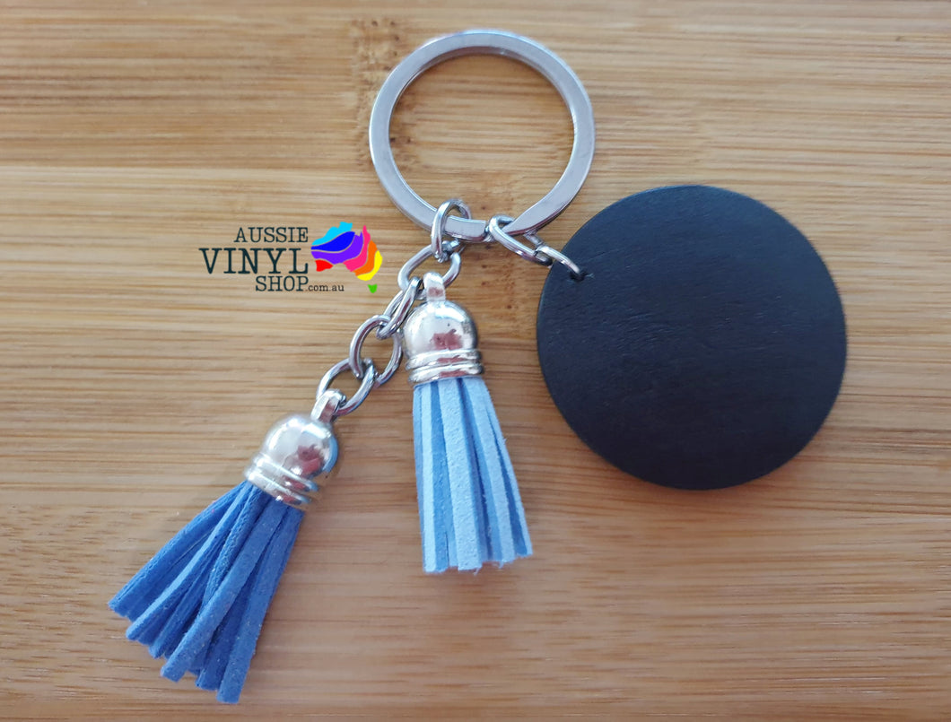 PRETTY TASSEL KEYRINGS WITH ROUND WOODEN DISC