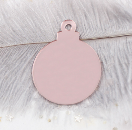 ROSE GOLD MIRROR BLANK ACRYLIC CHRISTMAS BAUBLE BLANK