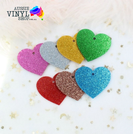 ACRYLIC GLITTER HEART SHAPE BLANKS