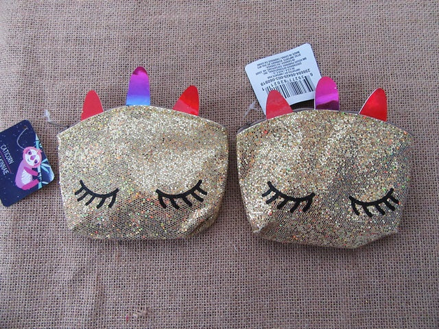 GLITTER LEATHERETTE MINI COIN, MAKEUP/PENCIL CASE