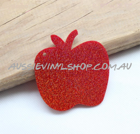 RED GLITTER APPLE ACRYLIC BLANK - GREAT TEACHER GIFT - Aussie Vinyl Shop