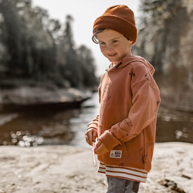 Chandail brun à motifs avec capuchon, garçon || Brown Patterned Hooded Sweater, Boy