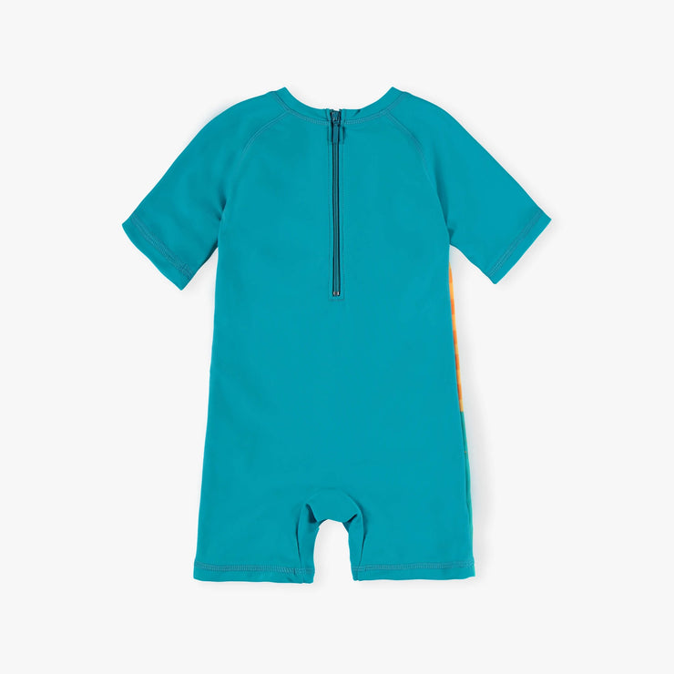 Maillot une-pièce turquoise et orange || Teal and Orange One-piece Swimsuit