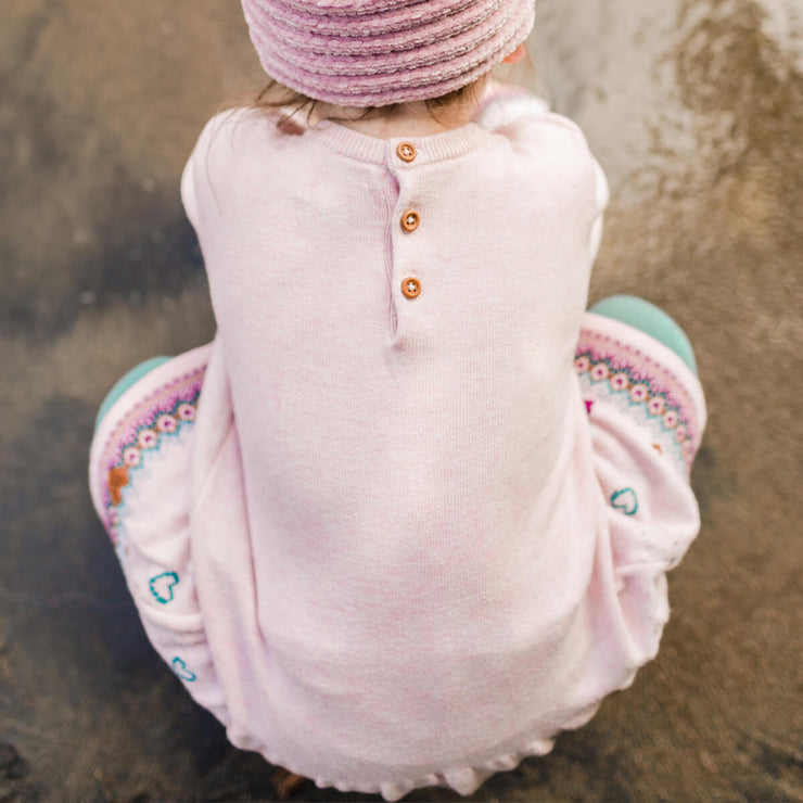 Robe rose en maille à manches longues || Long-sleeve Pink Knit Dress