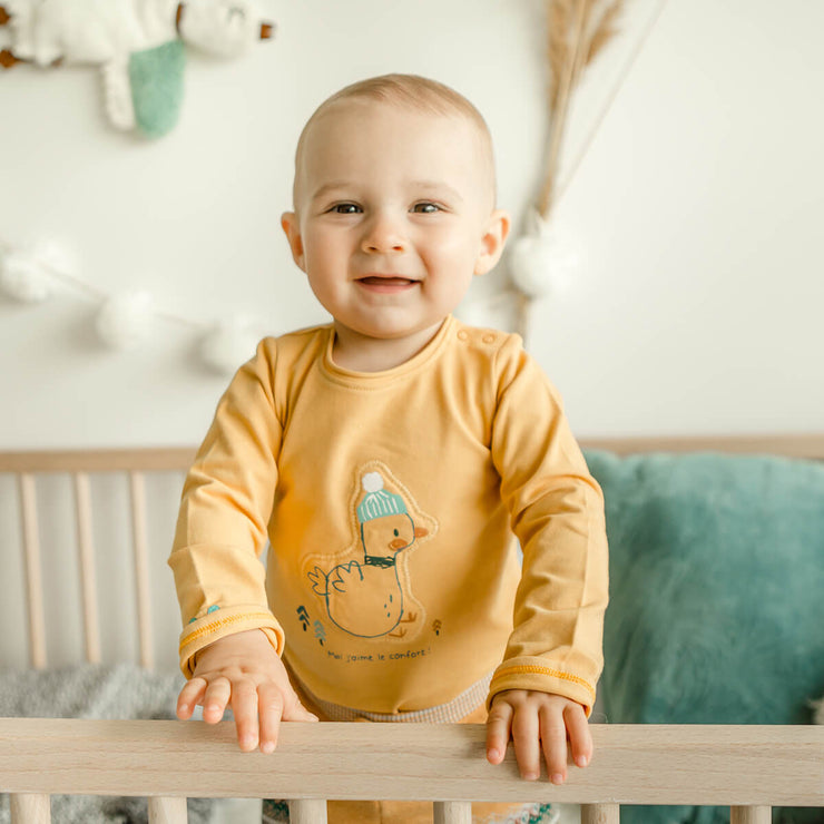 Cache-couche jaune à manches longues    || Yellow Long-Sleeve Bodysuit