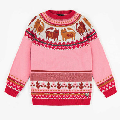 Chandail de maille rose à motifs, ADULTE   || Pink Patterned Knit Sweater, ADULT